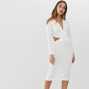 ASOS Petite Dresses - ASOS Bodycon Midi Dress with Cut-Out Back - 4P